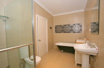 The main bathroom is brand new and stunningly spacious, offering a claw foot bath, separate shower and a washing machine.